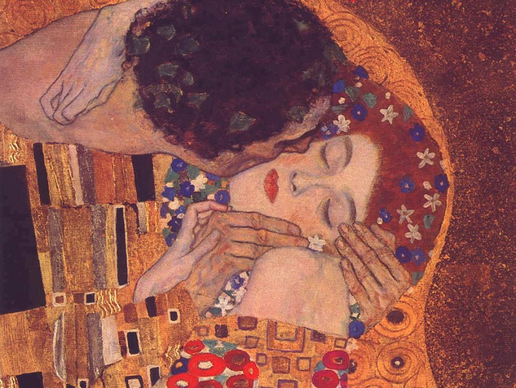 El Beso. Detalle del cuadro de Gustav Klimt.