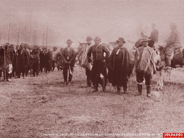 Campaña al Desierto Cacique Villamain capitanejos e indios de pelea 1882